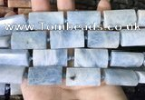 CTB673 14*27mm - 15*28mm faceted flat tube aquamarine beads