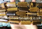 CTB676 14*27mm - 15*28mm faceted flat tube yellow tiger eye beads