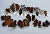 CTD1552 Top drilled 20*25mm - 35*45mm freeform agate slab beads