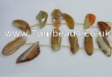 CTD1567 Top drilled 15*45mm - 25*60mm freeform agate slab beads