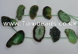 CTD1570 Top drilled 25*35mm - 30*55mm freeform agate slab beads