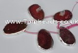 CTD1577 30*45mm - 35*50mm freeform agate beads with brass setting