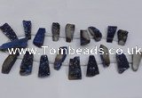 CTD1613 Top drilled 13*25mm - 15*45mm freeform plated druzy quartz beads