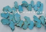 CTD2012 Top drilled 20*25mm - 30*35mm freeform turquoise beads