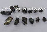CTD2618 Top drilled 15*25mm - 25*35mm nuggets plated druzy quartz beads