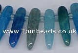 CTD2727 Top drilled 8*35mm bullet agate gemstone beads wholesale