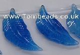 CTD2775 Top drilled 20*45mm - 25*55mm carved leaf agate beads
