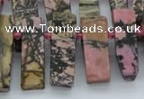 CTD3503 Top drilled 10*25mm - 10*45mm sticks rhodonite beads