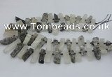 CTD3516 Top drilled 10*20mm - 12*40mm sticks black rutilated quartz beads
