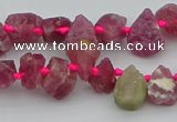 CTD3625 Top drilled 8*10mm - 10*14mm freeform pink tourmaline beads