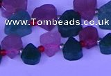 CTD3854 Top drilled 8*10mm - 10*12mm freeform mixed strawberry quartz beads