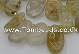 CTD449 Top drilled 10*14mm - 12*20mm freeform golden rutilated quartz beads
