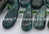 CTD492 Top drilled 10*22mm - 15*45mm freeform green apatite beads