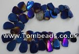 CTD907 Top drilled 15*20mm - 20*30mm freeform plated quartz beads