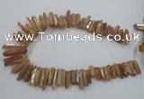 CTD917 Top drilled 6*25mm - 8*40mm wand plated quartz beads