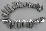 CTD922 Top drilled 15*20mm - 18*38mm wand plated quartz beads