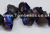 CTD948 Top drilled 8*10mm - 18*25mm faceted nuggets plated amethyst beads