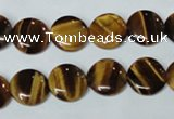CTE175 15.5 inches 10mm flat round yellow tiger eye gemstone beads