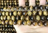 CTE2150 15.5 inches 12mm round yellow tiger eye beads wholesale