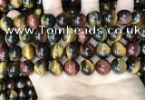 CTE2205 15.5 inches 14mm round mixed tiger eye gemstone beads