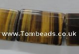CTE317 15.5 inches 25*35mm faceted rectangle yellow tiger eye beads