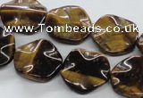 CTE323 15.5 inches 20mm wavy coin yellow tiger eye gemstone beads