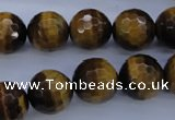CTE425 15.5 inches 14mm faceted round yellow tiger eye beads