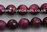 CTE475 15.5 inches 14mm faceted round red tiger eye beads wholesale