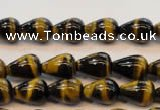 CTE605 15.5 inches 6*10mm teardrop yellow tiger eye beads wholesale