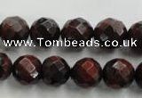 CTE704 15.5 inches 12mm faceted round red tiger eye beads