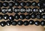 CTG1010 15.5 inches 2mm faceted round tiny black agate beads