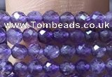 CTG1022 15.5 inches 2mm faceted round tiny amethyst beads