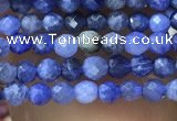 CTG1070 15.5 inches 2mm faceted round tiny sodalite beads