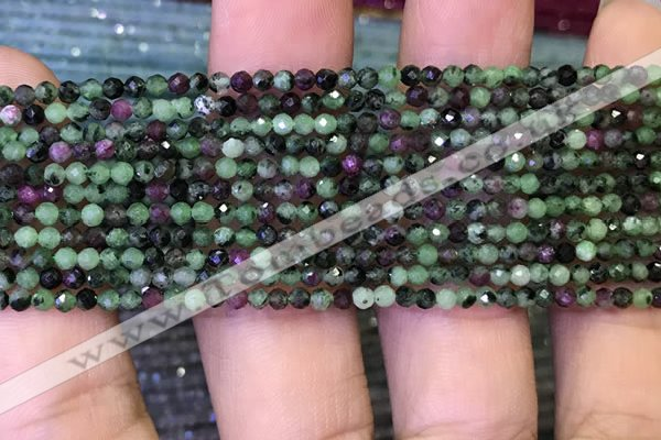 CTG1082 15.5 inches 2mm faceted round tiny ruby zoisite beads