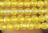 CTG1112 15.5 inches 3mm faceted round tiny yellow agate beads