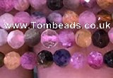 CTG1138 15.5 inches 3mm faceted round tiny tourmaline beads
