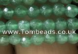 CTG1154 15.5 inches 3mm faceted round tiny green aventurine beads
