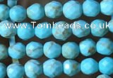 CTG1172 15.5 inches 3mm faceted round tiny turquoise beads