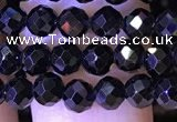 CTG1218 15.5 inches 4mm faceted round tiny black spinel beads