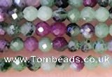 CTG1314 15.5 inches 2mm faceted round ruby zoisite beads