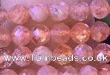 CTG1319 15.5 inches 4mm faceted round golden sunstone beads