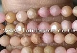 CTG1432 15.5 inches 2mm faceted round pink wooden fossil jasper beads