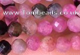CTG1543 15.5 inches 4mm faceted round tourmaline beads wholesale