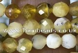 CTG1558 15.5 inches 4mm faceted round yellow opal beads