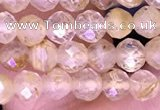 CTG1631 15.5 inches 4mm faceted round tiny golden rutilated quartz beads
