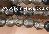 CTG2506 15.5 inches 4mm faceted round smoky quartz beads