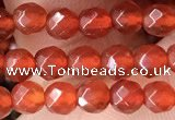 CTG2531 15.5 inches 4mm faceted round red agate beads wholesale