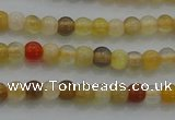 CTG263 15.5 inches 3mm round tiny yellow botswana agate beads wholesale