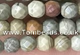 CTG3547 15.5 inches 4mm faceted round silver leaf jasper beads