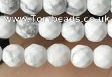 CTG3570 15.5 inches 4mm faceted round white howlite beads